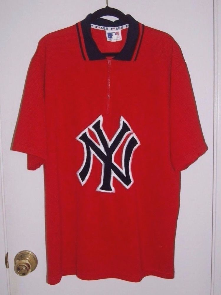 a76d5b029 New York NY YANKEES Logo Shirt 1/4 Zip Red MLB Baseball Jersey Mens Size XL:  $9.99 End Date: Wednesday Nov-14-2018 7:06:50 PST Buy It Now…