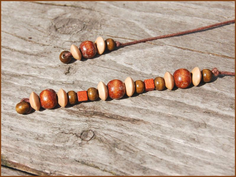 brown wooden beaded bookmark 3 05 by hgk handmade dawanda