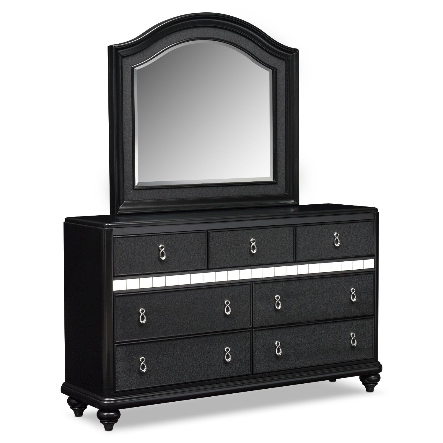 Bedroom Furniture - Serena Dresser and Mirror - Onyx