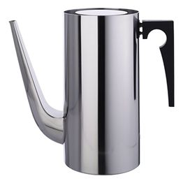 'Cylinda Line coffee pot'  Designed by Arne Jacobsen for Stelton and part of the Cylinda line series, is a winner of the 1967 ID prize. It is constructed out of 18/8 stainless steel with a matte finish. The Cylinda-Line by Arne Jacobsen is something special, given Stelton's unique know-how in the field of stainless steel. The Stelton Cylinda-Line is the result - a serene, functionalist design.