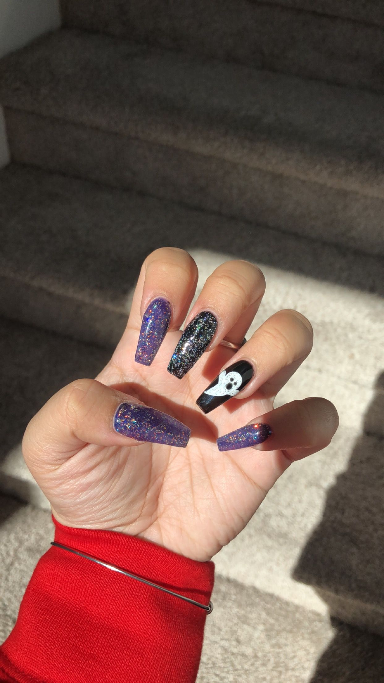 Halloween Nails Purple Black With Orange Silver Glitter With Glitter Ghost Nail Black And Purple Nails Purple Halloween Halloween Nails