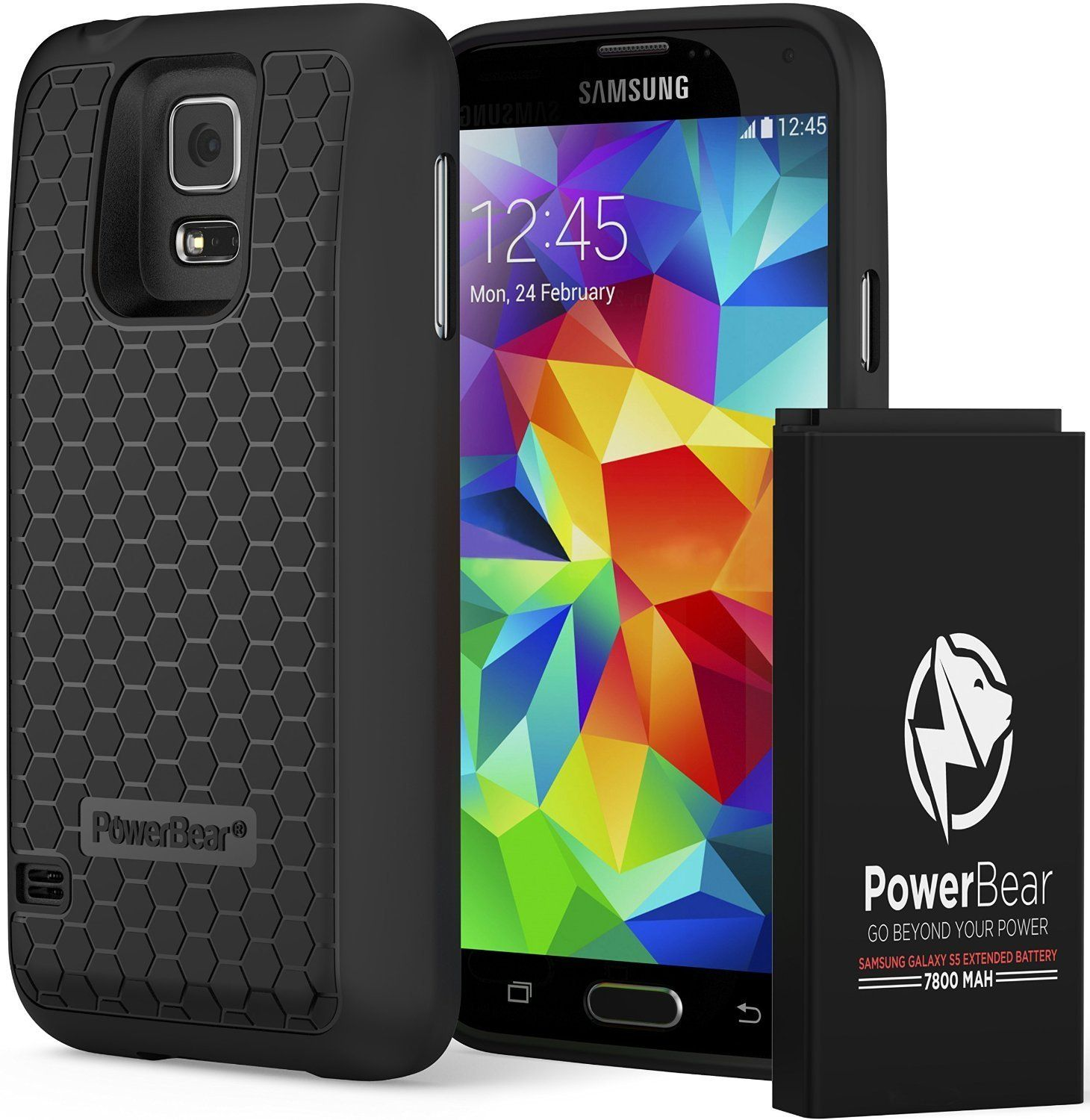 Amazon Com Powerbear Samsung Galaxy S5 Extended Battery 7800mah Amp Back Cover Amp Protective Case Up To 2 75x Extra Samsung Galaxy S5 Galaxy S5 Galaxy