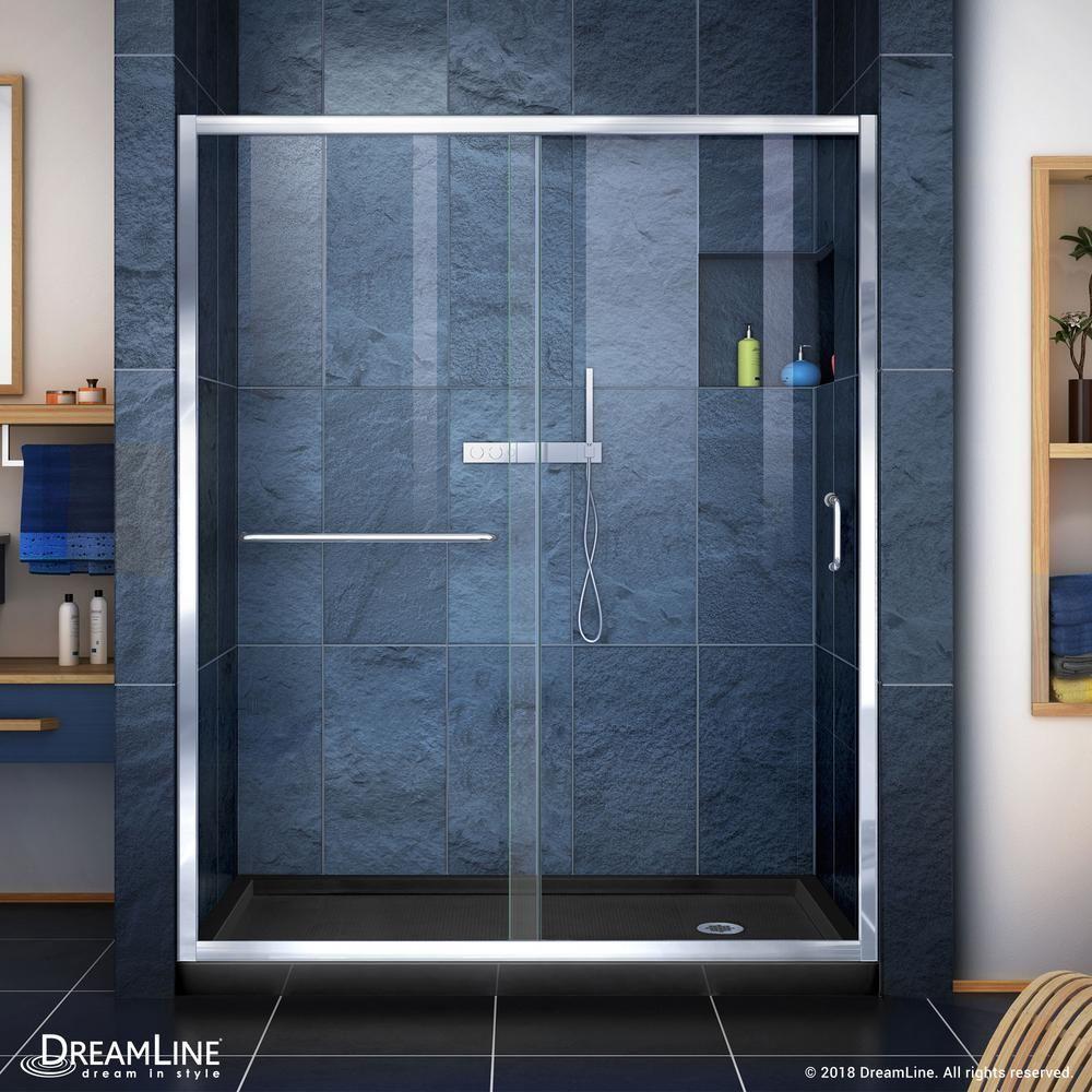 Photo of DreamLine Infinity-Z 34 in. x 60 in. Semi-Frameless Sliding Shower Door in Chrome with Center Drain White Acrylic Base-DL-6972C-01CL – The Home Depot