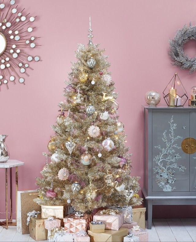 Marks And Spencer Tinsel Christmas Tree Christmas Tree Gold Christmas Tree