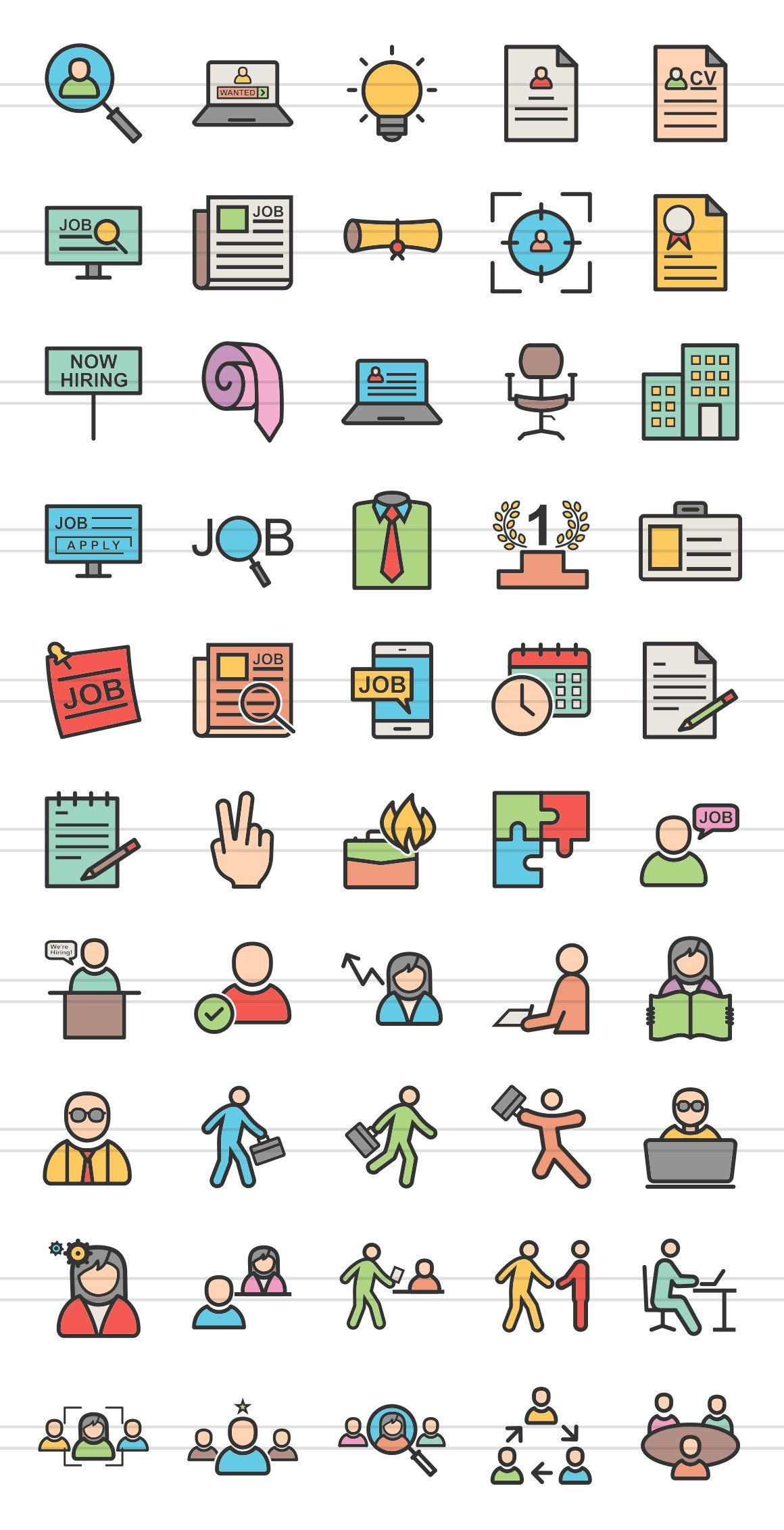 50 employment line filled icons online employment