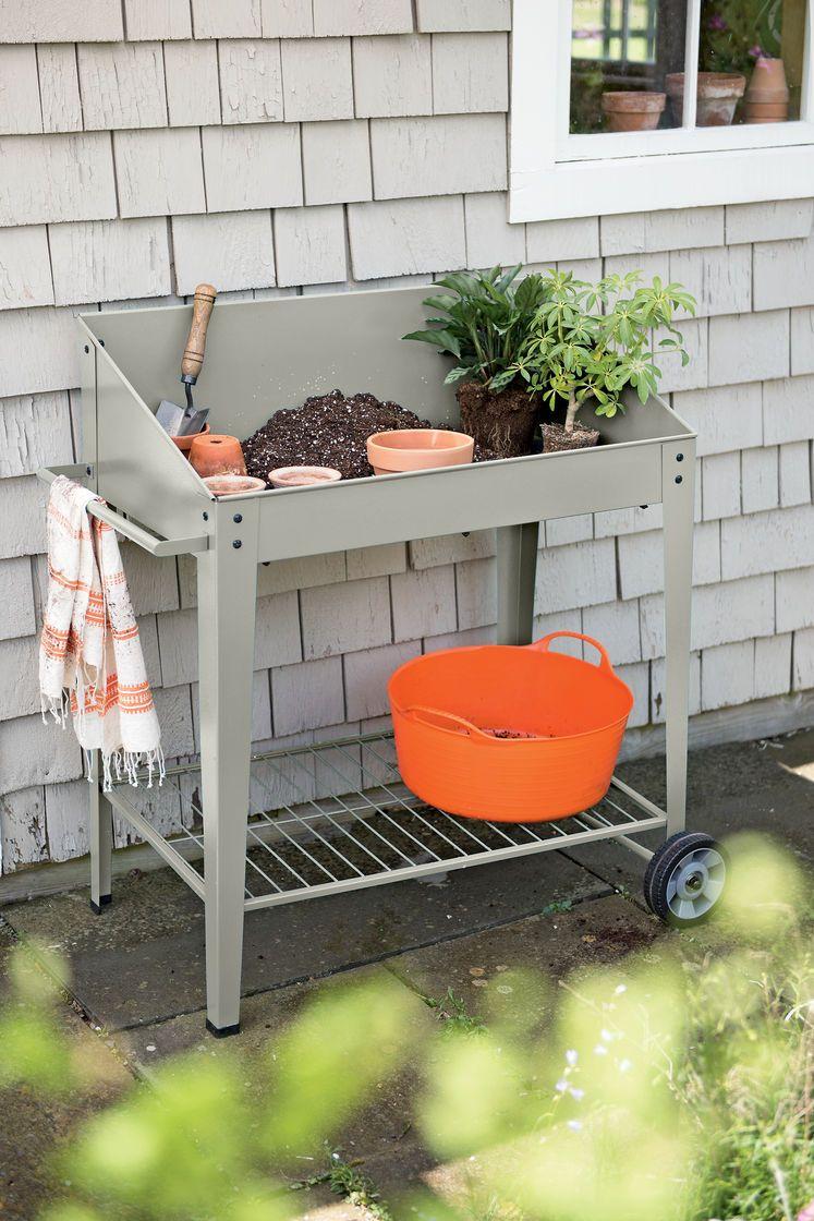 Demeter Metal Potting Bench Mobile Potting Bench Indoor Aquaponics Raised Garden Beds Vegetable Storage