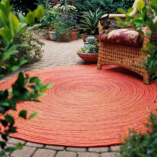 Carpet for Your Patio - Throw down a rug. There are more and more high-quality, weather-resistant rugs for use outdoors. They come in a variety of colors and styles, so you can find one to suit your tastes. Select rugs made from recycled materials and be environmentally friendly at the same time.
