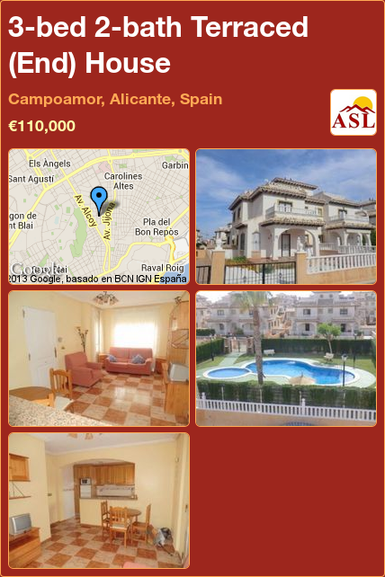 Terraced End House For Sale In Campoamor Alicante Spain With 3 Bedrooms 2 Bathrooms A Spanish Life