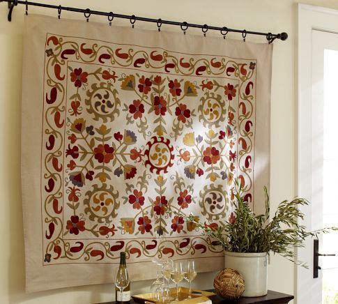 Harvest Suzani Embroidered Wall Tapestry Turkish