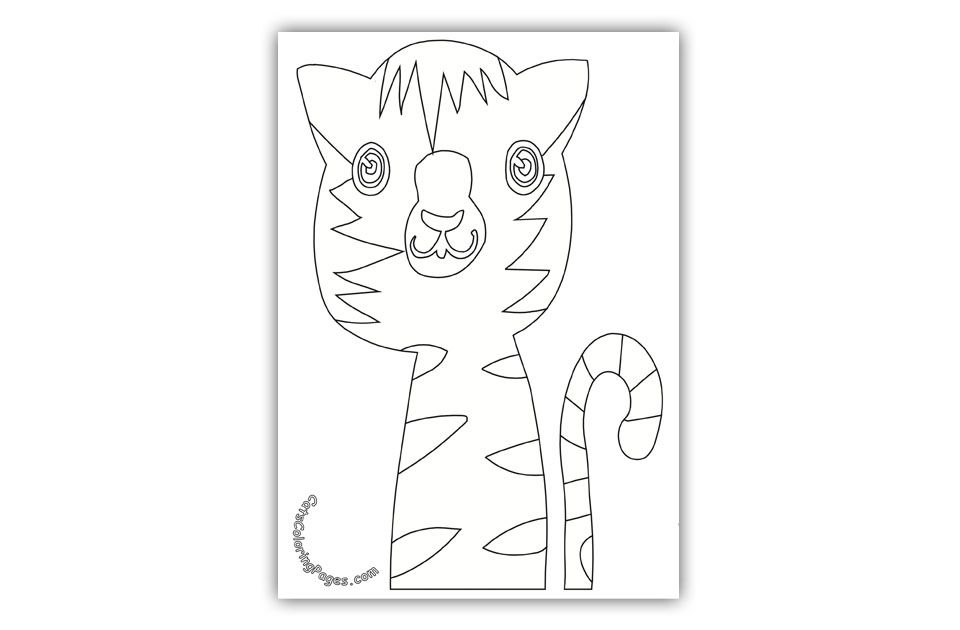 Curious Tabby Cat Coloring Page Cat Coloring Pages Cat