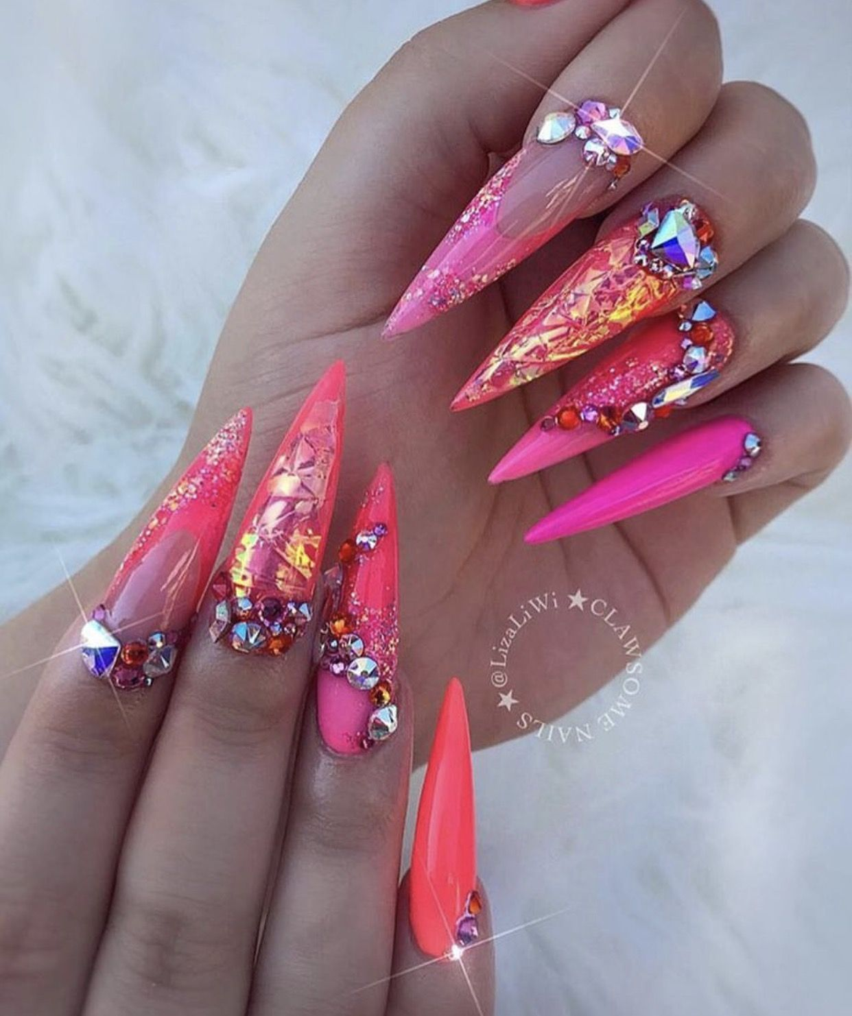 bright pink orange colorful long stiletto nails nails
