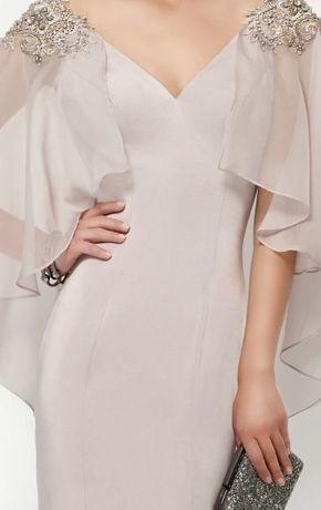 Beaded Lace Flutter Sleeved Gown by Alyce Jean De Lys
