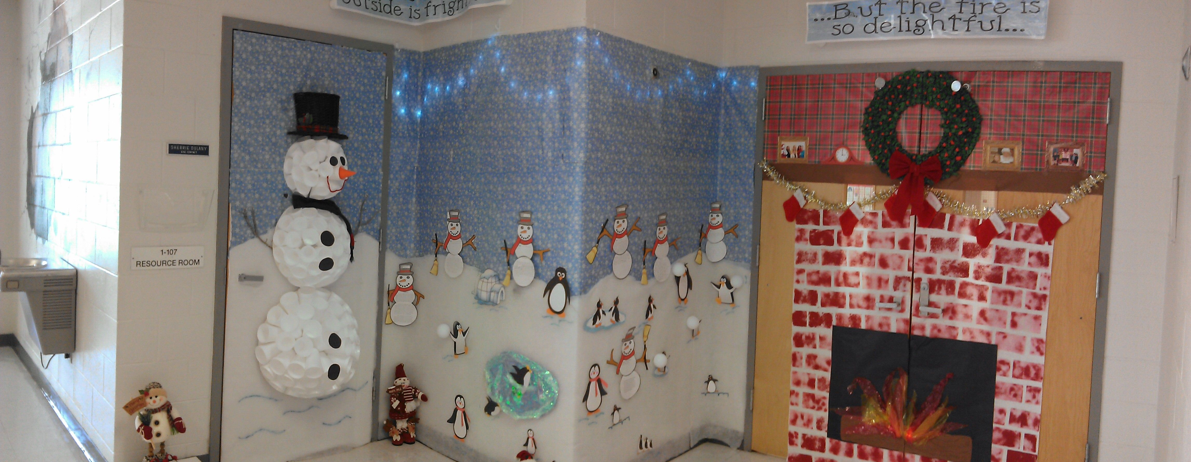 Winter Wonderland Door Decorating Contest I Made The Snowman By
