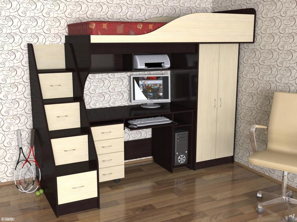 stunning gothic study table under bed with small wardrobe beside