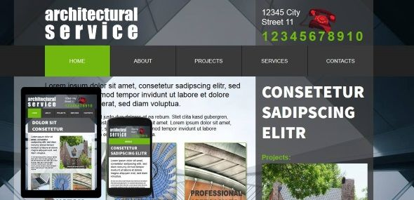 Free architecture template for adobe muse includes custom widgets