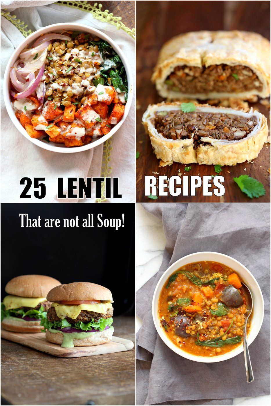 25 Easy Lentil Recipes that are not all Lentil Soup 25 Easy Lentil Recipes that are not all Lentil Soup. Brown, green, Red Lentils in Bowls, tacos, Soups, enchiladas, sloppy sandwiches, lentil fritters, burger patties, casseroles and more. Vegan options