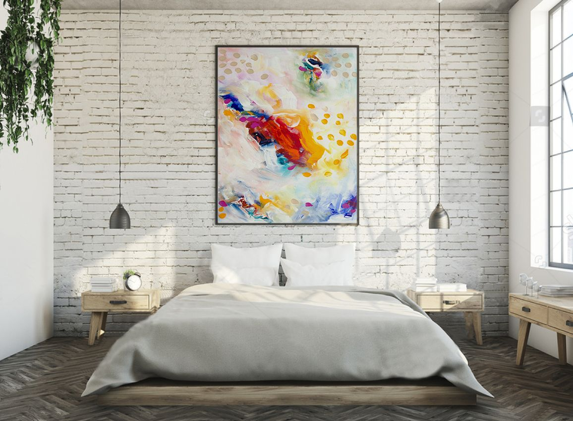 Bedroom Abstract Painting Canvases, Bedroom Abstract Painting Etsy ...