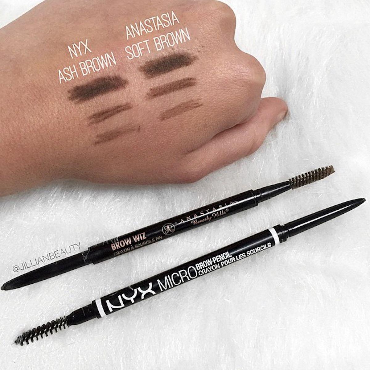 NYX Micro Brow Pencil Vs Anastasia Brow Wiz Swatches
