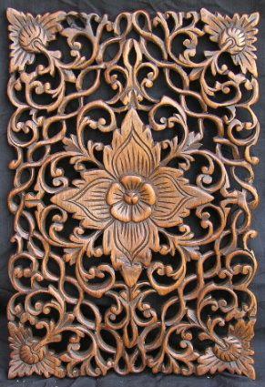Carved Teak Floor Panels With Floral Motif Relleus