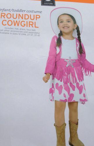 infant cow girl halloween costume pink hat dress fringe western 12 18 24 month