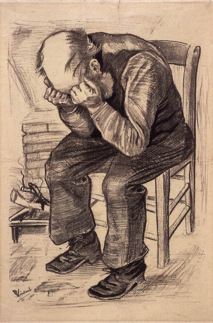 "VAN GOGH, Vincent At Eternity's Gate (""Worn Out"") November 1882, The Hague Lithograph, 497 x 34 0 mm Rijksmuseum Vincent van Gogh, Amsterdam"