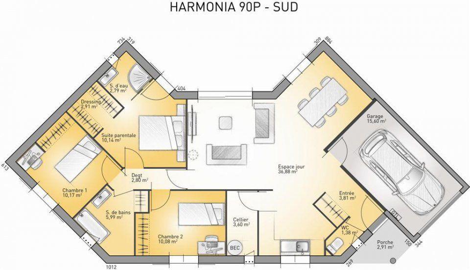 Plan maison neuve à construire - Maisons France Confort Harmonia 90 - plan maison france confort