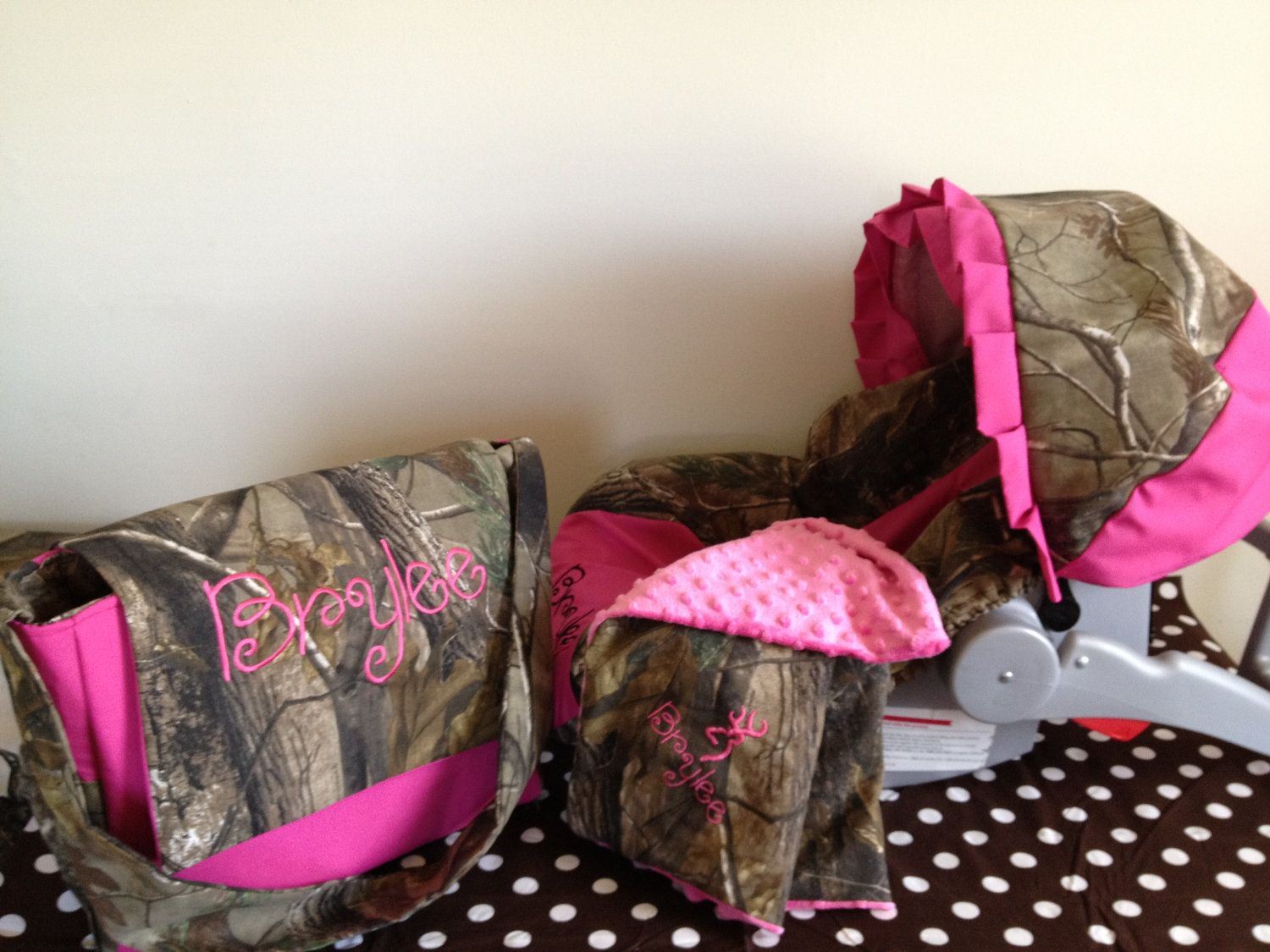 3 Piece Set REALTREE CAMO Fabric Infant Car Seat Cover And Canopy Diaper Bag Huggy Blanket With Free Monogram 10500 Via Etsy