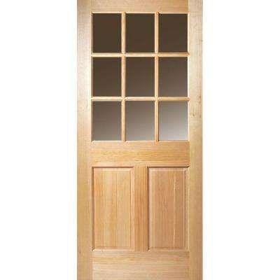32 In X 80 In 9 Lite Unfinished Fir Front Door Slab Wood Exterior Door Entry Doors Wood Front Doors