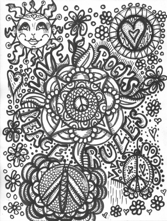 Hippie Art, Coloring Book, Peace Love and a Coloring Book | Spirit ...