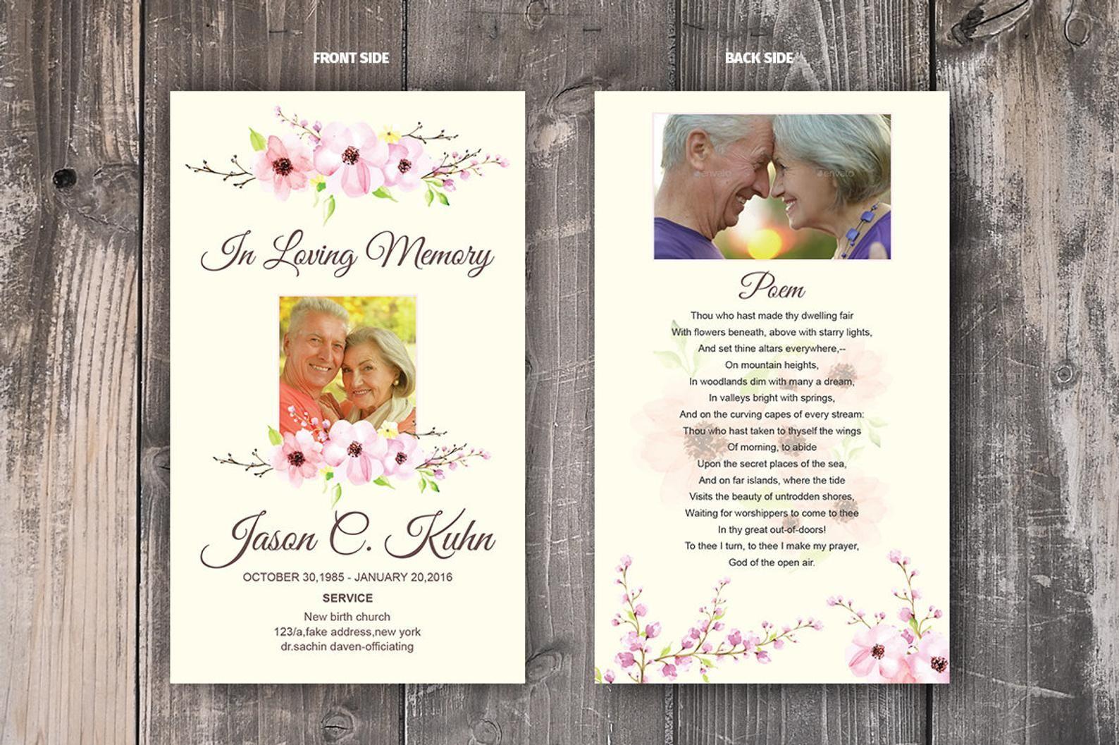 Funeral prayer card template memorial prayer card template