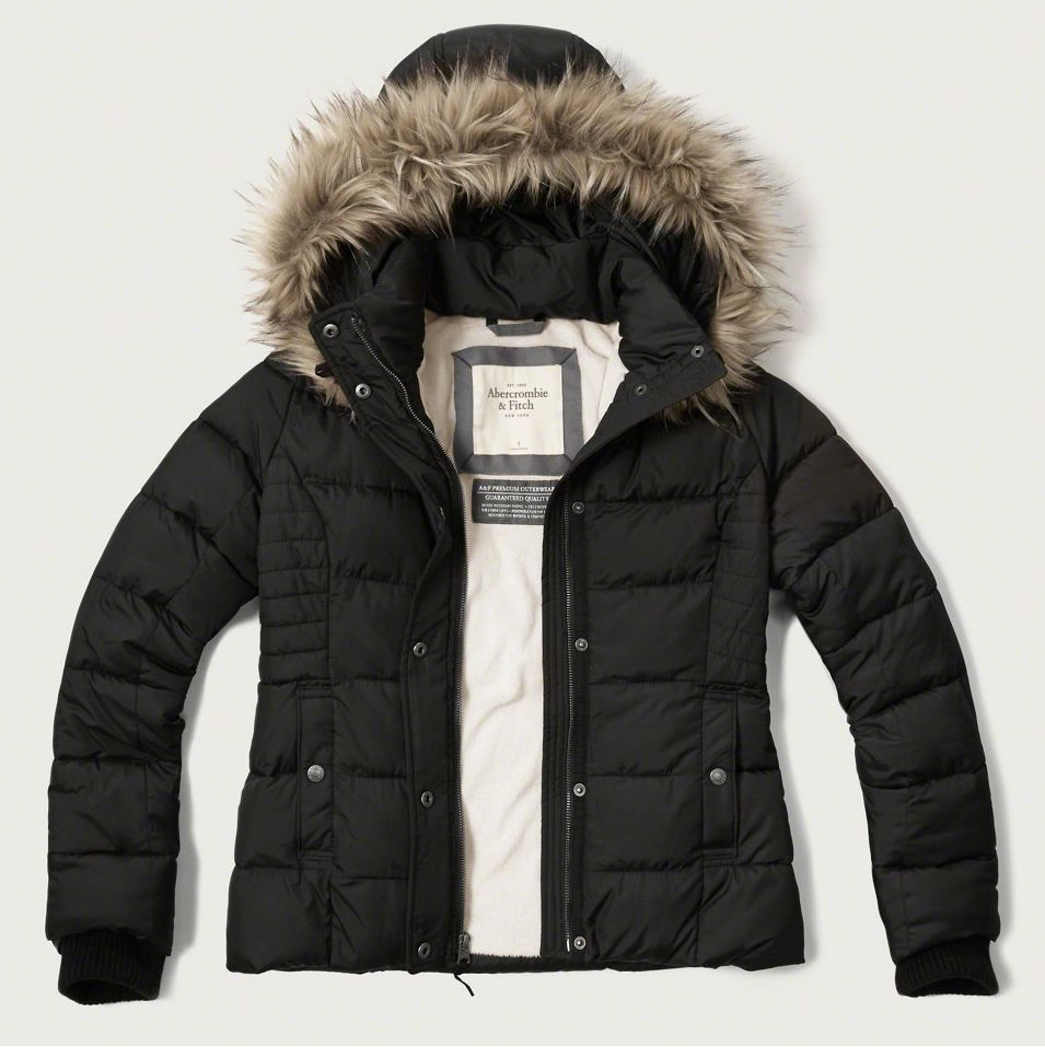 NEW Abercrombie & Fitch Womens Ladies Puffer Jacket Faux Fur ...
