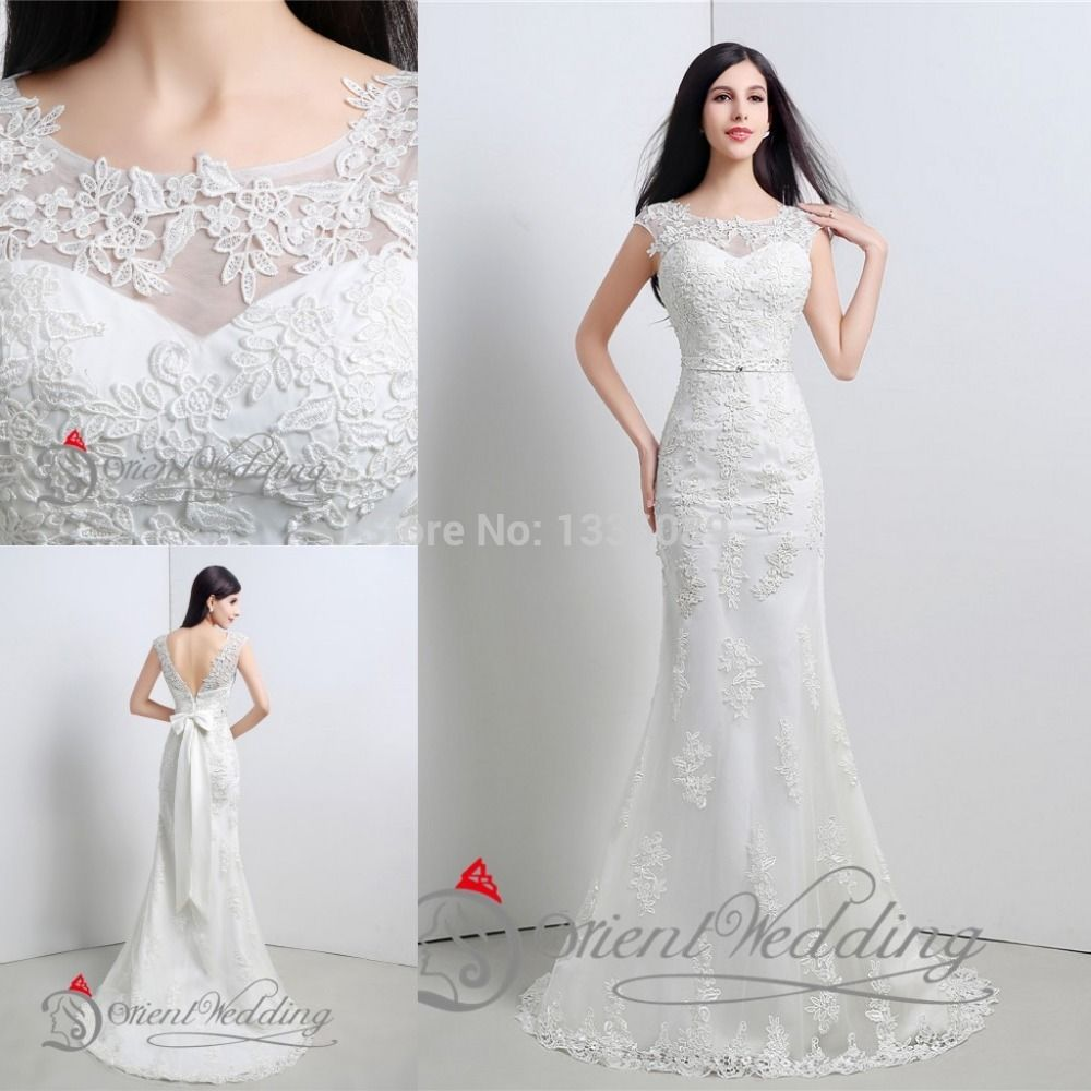 Aliexpress Com Buy New Design Sheer Neckline Embelished With Crystal Beads Tulle Lace Wedding Dress Bridal Bridal Dresses Wedding Dresses Lace Beaded Tulle