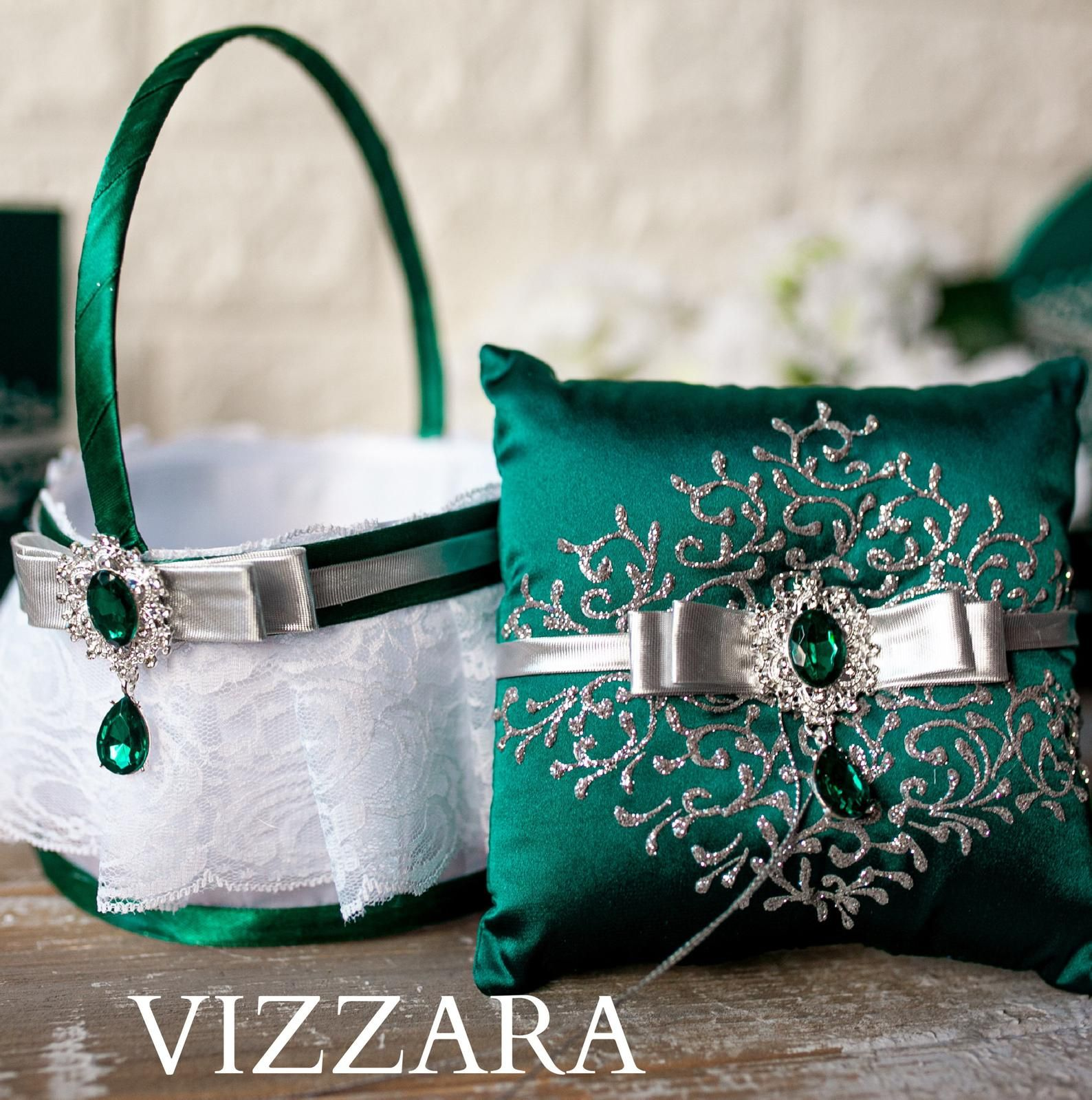 Satin Wedding Ring Bearer Pillow and Basket Sets Various Designs and Colors
