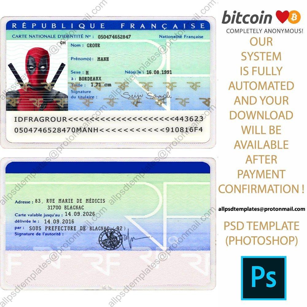 France Id Card Template Id Card Template Card Template Psd Templates