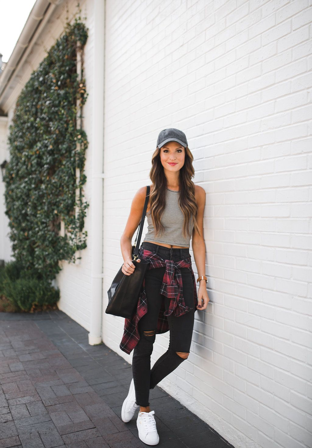 ef5f0725b80d6 Striped tank top + high waisted distressed skinny jeans + flannel shirt +  white sneakers + baseball cap