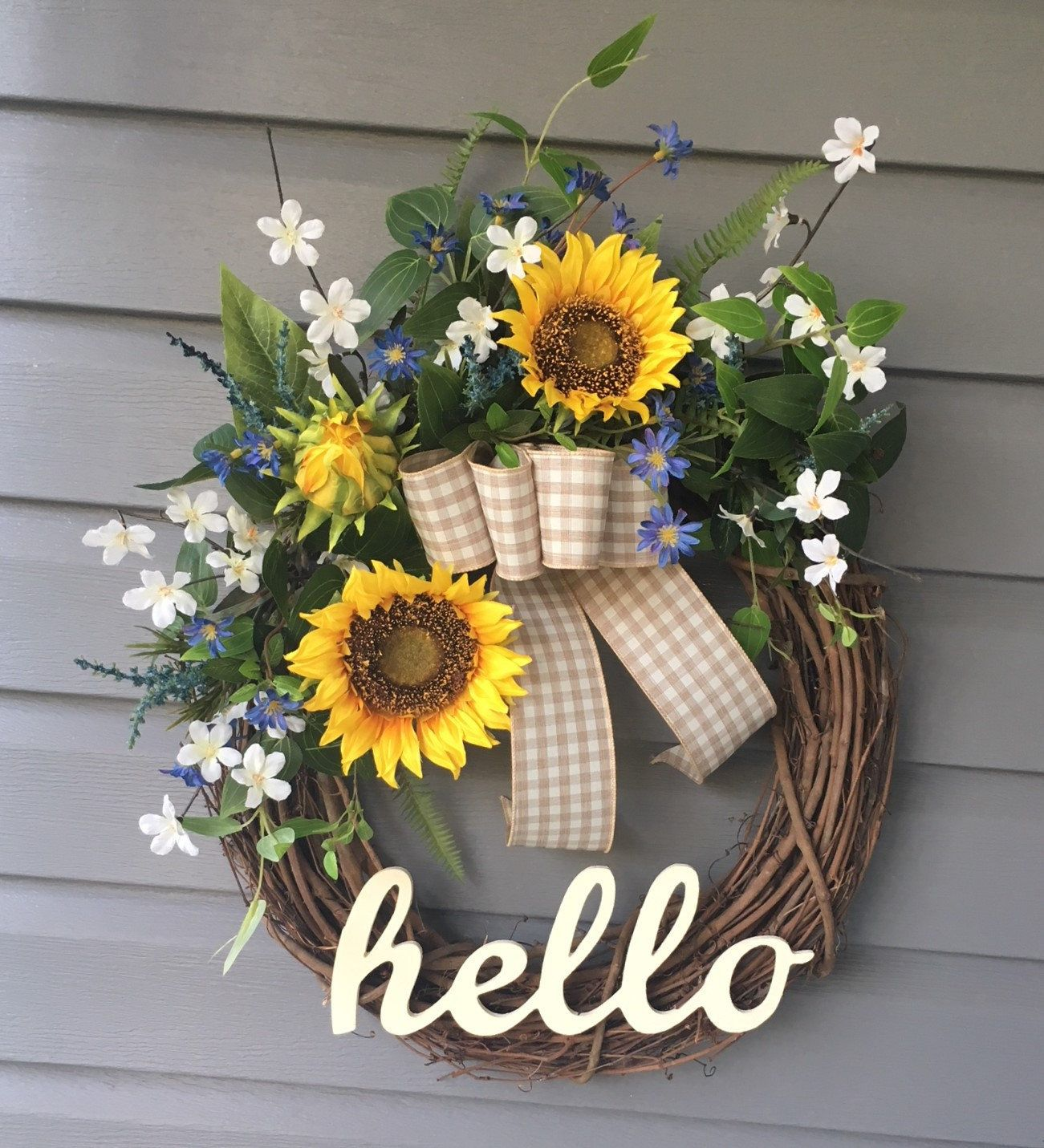 Photo of Summer Wreath for Front Door, Sunflower Wreath, Farmhouse Wreath, Rustic Country Decor, Gift for Her, Hello Wreath, Modern Wreath