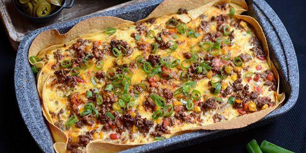 Mexicansk tærte i bradepande   Opskrift   tærte med svampe   Pinterest   Food, Pizza og Food and ...