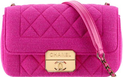 8a9c61b23181 Pink Chanel Fabric Quilted Flap Bag 2014 2015 Winter Collection ...