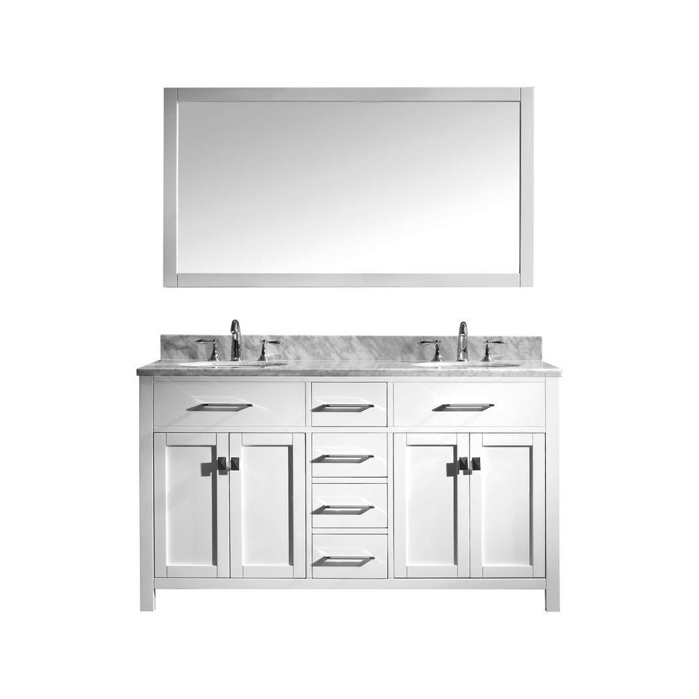 Virtu Usa Caroline Double Basin Vanity In White With Marble Vanity Top In Italian Carrera A Marble Vanity Tops Double Sink Bathroom Vanity Bathroom Sink Vanity