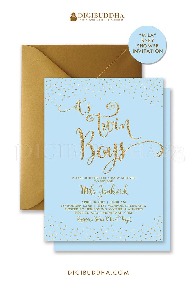 Twin boys baby shower invitation. Baby blue and gold glitter sparkle ...