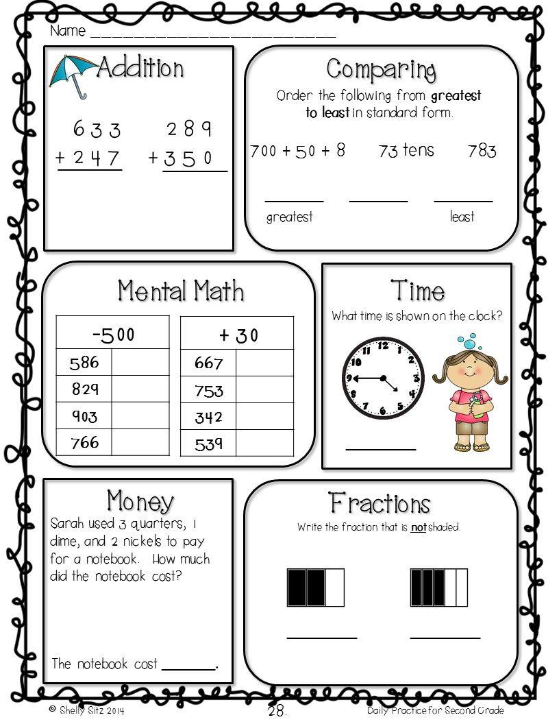 Morning Work Freebie For 2nd Grade 2nd Grade Math Math Review Second Grade Math [ 1056 x 816 Pixel ]