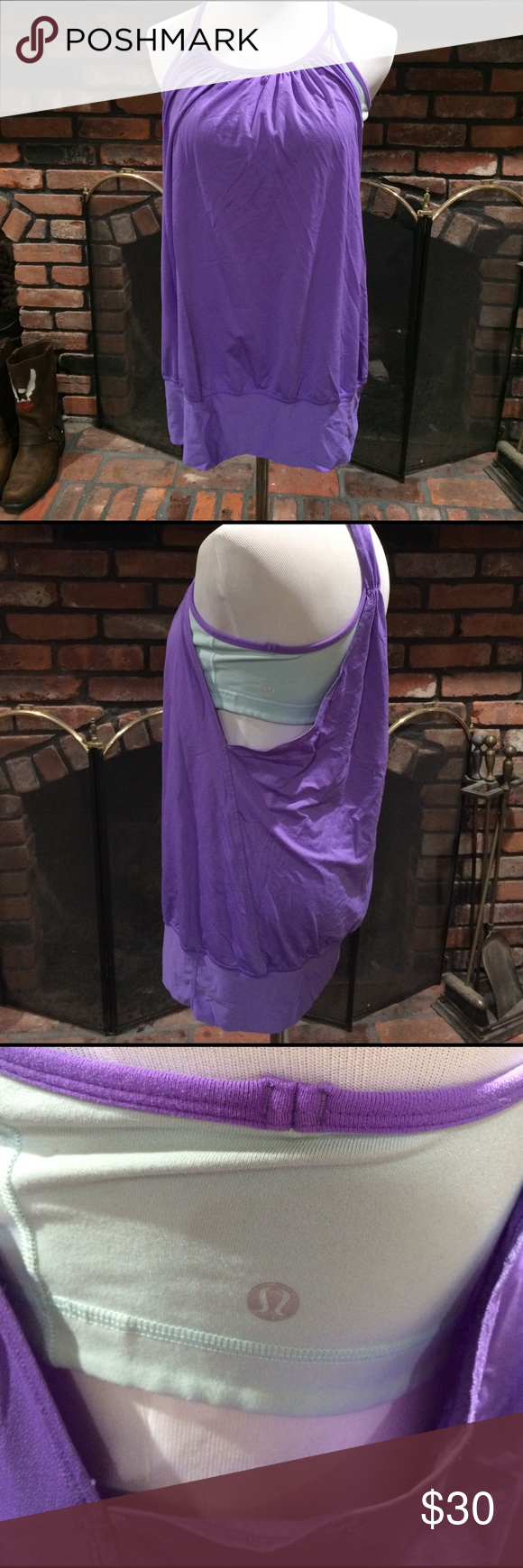 Lululemon tank size 10 Lululemon tank size 10.  Pretty lavender and Aqua blue tank top.  Built in bra no padding, but a place for padding.  Good used condition. lululemon athletica Tops Tank Tops