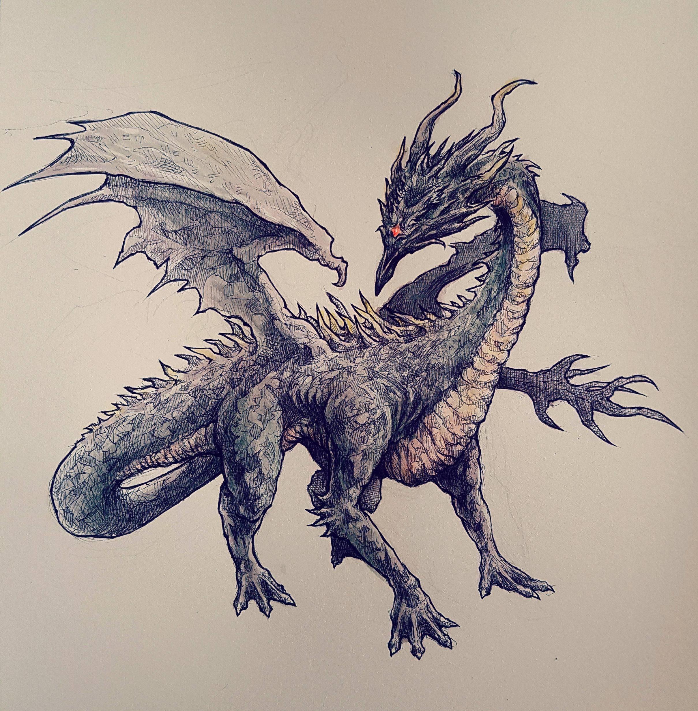 Dark Souls Black Dragon Kalameet Concept Art