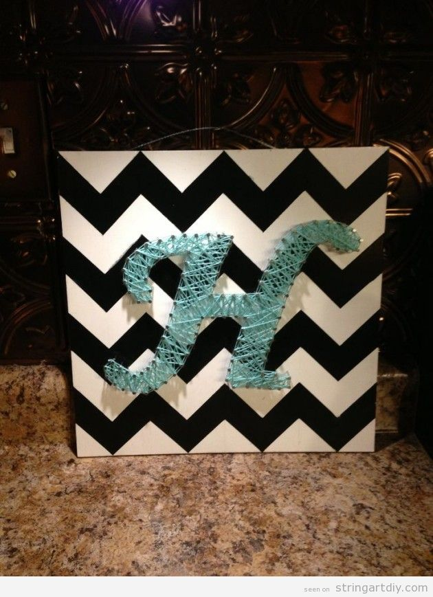 string art letter wall decoration project gift letter h string art