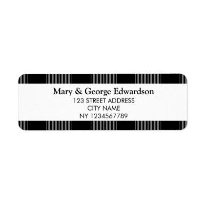 Black white Tartan checkered return address Label Return address - sample address label