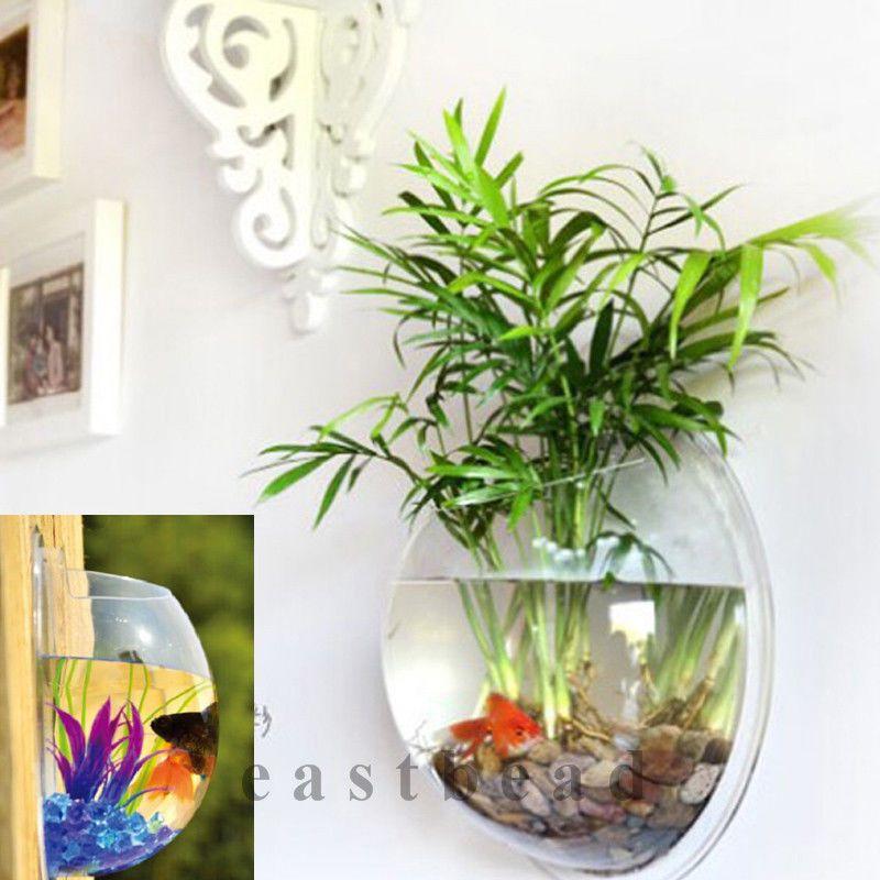 How To Decorate Fish Bowl: Home Decoration Pot Wall Hanging Mount Bubble Aquarium
