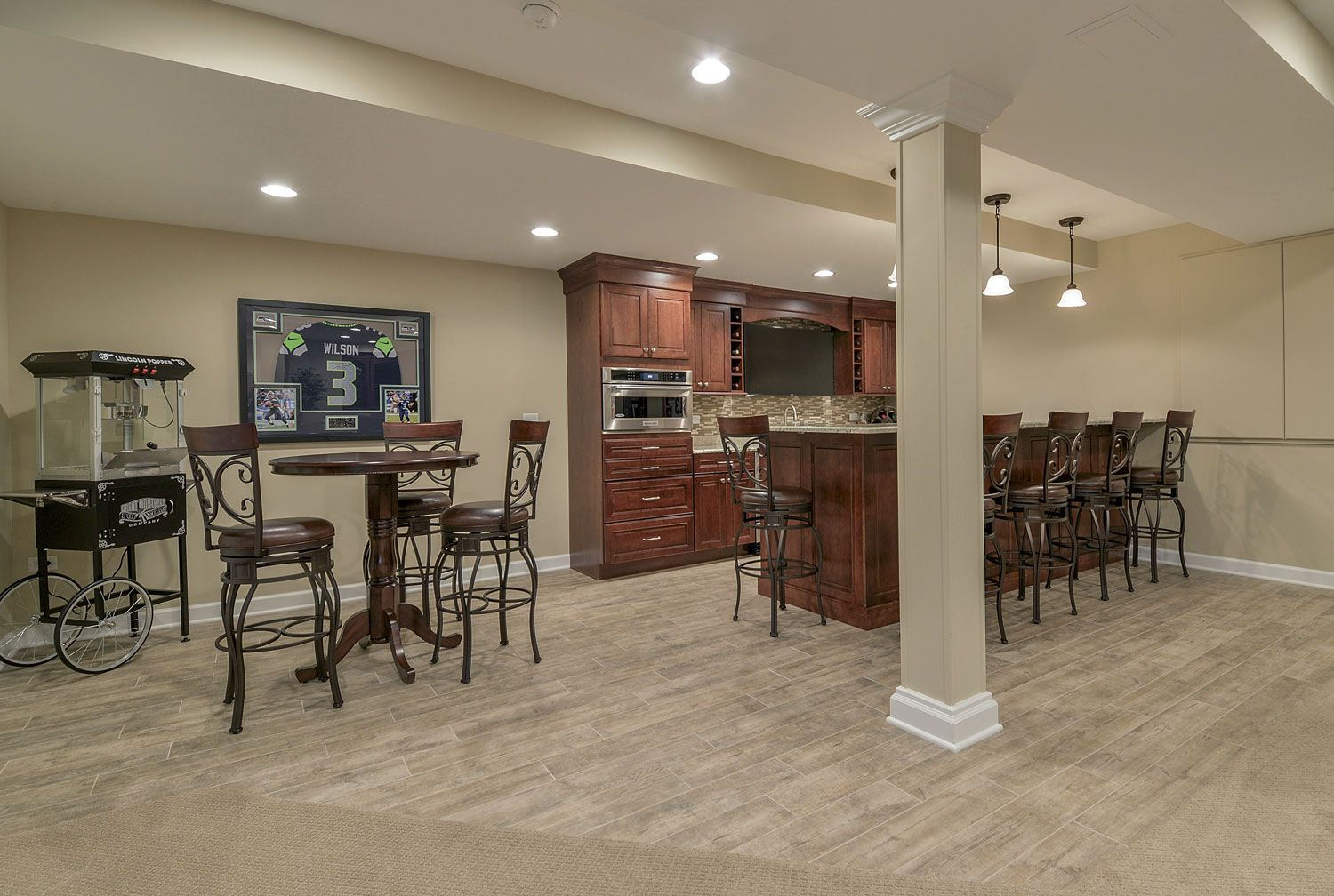 Full Bar Kitchenette Bathroom Finished Basement Remodeling Geneva - Bathroom remodeling geneva il