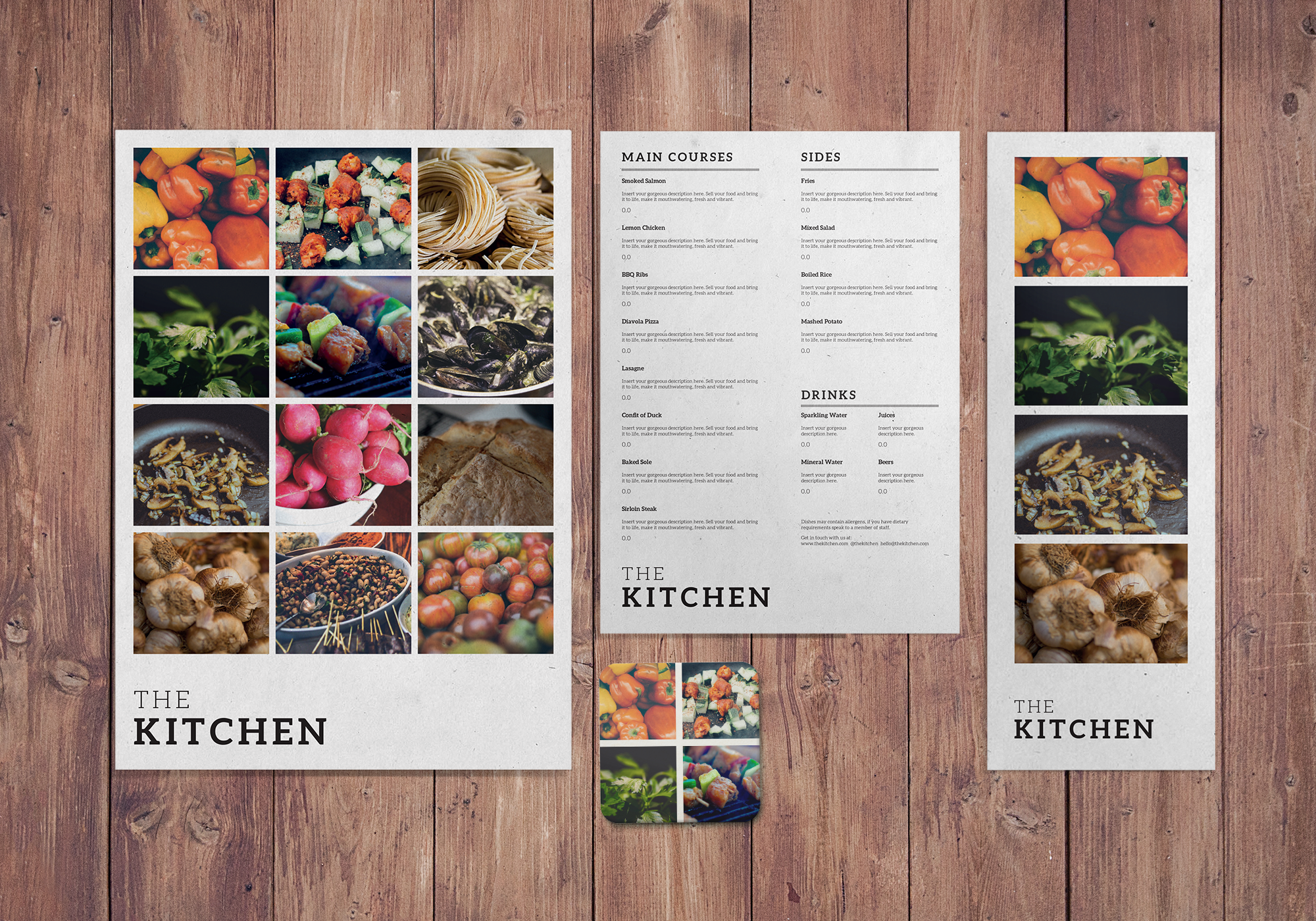 The Kitchen  A Modern Photographic Menu Design Set From Print