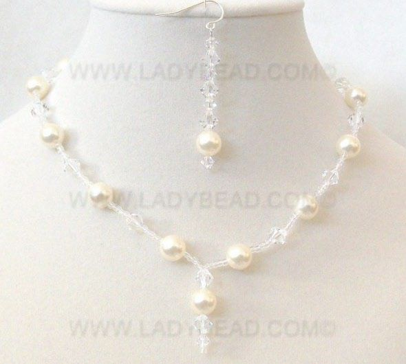 necklace earrings cream crystal
