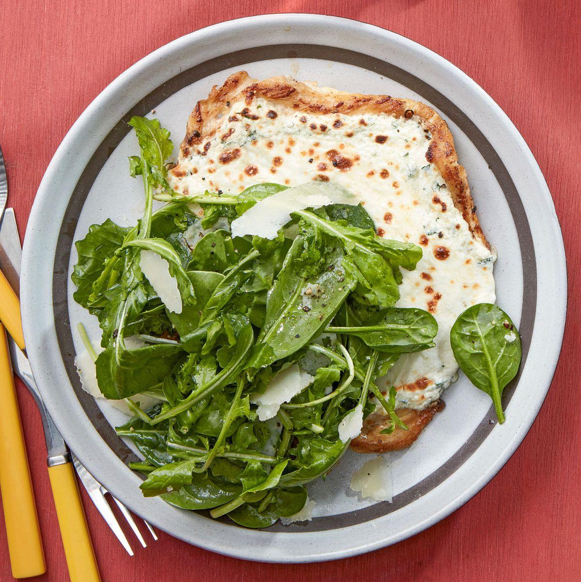 Chicken Paillard White Pizzette With Spinach Arugula Salad Recipe Chicken Paillard Spinach Arugula Salad